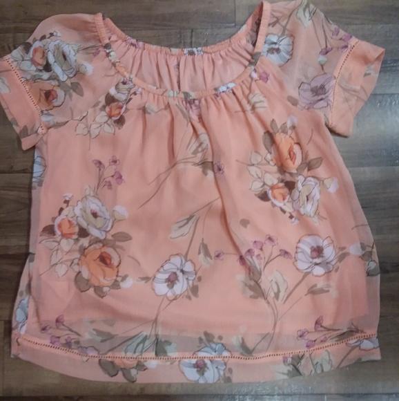 St. John's Bay Tops - Orange floral off the shoulder blouse